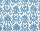 Vintage Flock Wallpaper by the Yard 70s Retro Flock Wallpaper - 1970s Blue and White Victorian Style Damask Flock