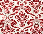 Retro Flock Wallpaper by the Yard 70s Vintage Flock Wallpaper - 1970s Red Floral Flock Damask on White and Gold Marble