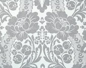 Vintage Wallpaper by the Yard 70s Retro Wallpaper - 1970s Charcoal Gray and White Floral Damask