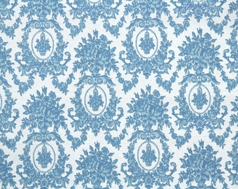 Retro Flock Wallpaper by the Yard 70s Vintage Flock Wallpaper - 1970s Blue and White Victorian Style Damask Flock