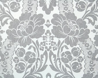 Retro Wallpaper by the Yard 70s Vintage Wallpaper - 1970s Charcoal Gray and White Floral Damask