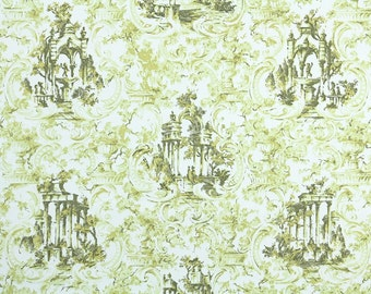 Vintage Wallpaper by the Yard 70s Retro Wallpaper - 1970s Green and White Scenic Garden with Greek and Roman Columns and Fountains