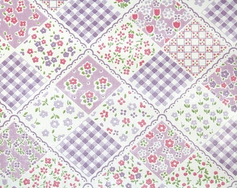 Vintage Wallpaper by the Yard 70s Retro Wallpaper - 1970s Lavender and Pink Patchwork Quilt Floral with Gingham Check and Flowers