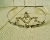 Vintage rhinestone tiara jeweled crown wedding prom dress up