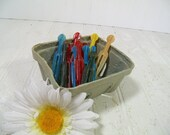 Vintage Set of 12 Colorful Bulldog Plastic Clothes Pins & Berry Basket - Retro Farm House Fresh Finds for Laundry Room or Crafting Projects