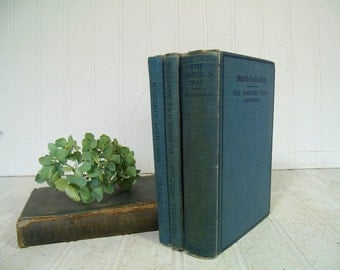 Merrill's English Texts Books Set of 4 Antique Vintage School Books Collection - Early Well Used Group of Four Blue Books for Decor or Props