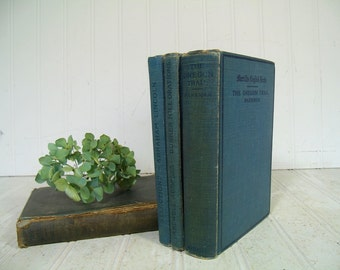 Antique Merrill's English Texts Books Set of 4 Vintage School Books Collection - Early Well Used Group of Four Blue Books for Decor or Props