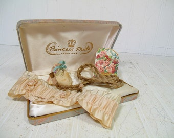 Antique Vanity Collection of Mementos in a Damask Case - Shabby Chic Satin Jewelry Box with Garter, Sachet, Calendar Card & Human Hair Braid