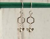 Sterling Silver Tiny Honey Bee Drop Earrings -- Minimalist