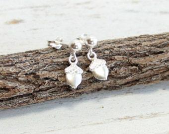 Tiny Sterling Silver Acorn Post Earrings -- Minimalist