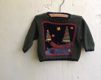 forest green canoe woods holiday camp rustic prairie baby ooak embroidered sweater
