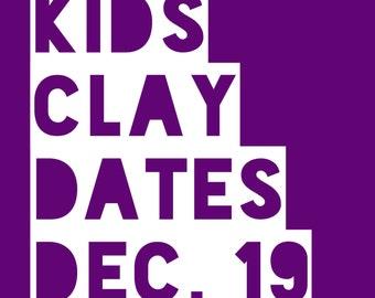 Clay Dates @ Tasha Biggers Pottery: Monday, Dec. 19, 2016, 10 am to noon