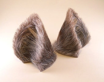 Gray Grey Brown Striped Fur Leather Wolf Dog Fox Ears Inumimi Kitsune Fairy Cosplay Furry Goth Fantasy LARP Costume Pet Play