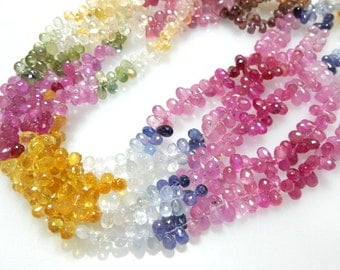 Multi Sapphire Gemstone  Faceted Briolette Tear Drops AAA Quality Size - 3- 4MM30Ct - 4''  Wholesale Price
