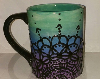 Mandala design Ceramic Mug  black design