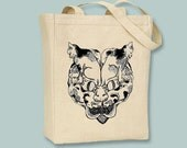 Ancient Japanese Cat Head of Cats Illustration Black or Neutral Canvas Tote  -- selection of sizes available