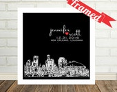 New Orleans Skyline New Orleans Art Wedding Present Personalized FRAMED ART New Orleans Print Any City Available Unique Wedding Present