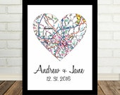 Charlotte Map Heart Print Charlotte Art Engagement Gift ANY CITY Worldwide Valentines Day Gift Holiday Gift Christmas Gift under 20