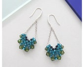V shape Crystal Earrings / Zicron Blue Olive Green Crescent Drop Earrings with Sterling Silver
