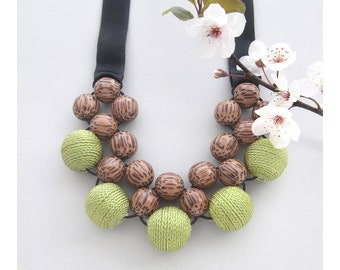 Chunky Necklace / Wooden Necklace / Palm Wood Khaki Fabric Beads and Ribbon Ties / Wooden Bead Necklace / Bib Necklace / Statement Necklace