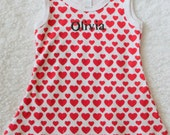 Girls Valentines Day Outfit/Girls Valentines Day Dress/Personalized/Custom Emboridered/Red and White Dress/Limited Edition