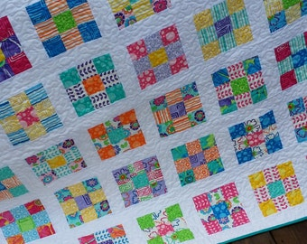 Bright Patchwork Lap Quilt - Large Baby Girl Quilt, Toddler Girl Quilt, Modern Quilt - Ready to Ship