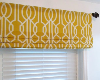 Yellow FAUX ROMAN Shades  Contemporary  Modern Geometric  Mock Valance  Handmade in the USA