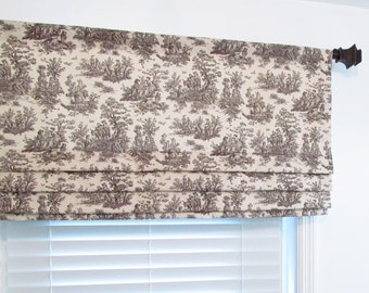 Custom Faux Roman Shade Brown Natural Toile Print Mock Valance Handmade in the USA