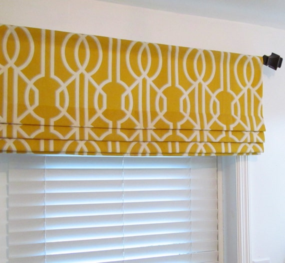 Contemporary Kitchen Curtains And Valances: Contemporary FAUX ROMAN SHADES Lined Mock Valance Geometric