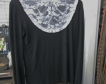 Designer's Victorian Era Influenced White Floral Lace appliqued Black Long Sleeves Top, Vintage - Medium to Large