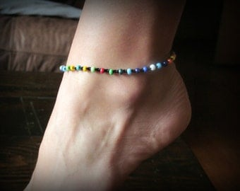 Bohemian Beach Anklet, Multi Color, Festive, Colorful Crocheted Anklet