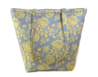 Gray Floral Tote Bag, Yellow Flowers, Cloth Purse, Fabric Bag, Handmade Bag, Shoulder Bag, Fabric Handbag
