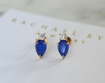 Sapphire Blue Cats Eye Teardrop Crystal CZ Stud Earring