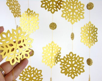 Gold Christmas Decorations, Snowflake Paper Garland