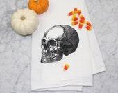 Skull Tea Towel - Hand Printed Kitchen Towel - Eco-Friendly Gift - Skull Kitchen Decor - Flour Sack - Halloween Home Decorcation