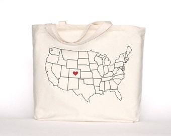 Home State Pride-Customizable-Screen Printed Cotton Tote Bag-Large Canvas Shopper-Reusable Grocery Tote Bag-Canvas Tote Bag-Home Sweet Home
