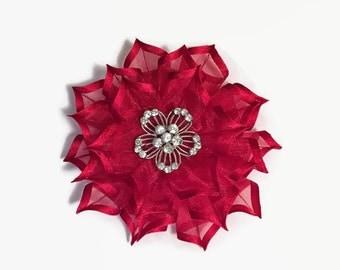 Large Red Flower Pin, Flower Brooch, Nylon Fabric Flower, Red Nylon Ribbon Flower