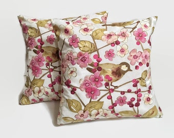 Cherry Blossoms Pillow Covers, Floral Pillow Covers, 16x16 Pillows, Pillow Decor, Home Decor, Cherry Blossoms & Birds Pillow Covers