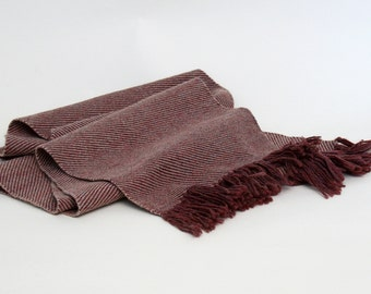 Handwoven Wool Scarf in Berry and Peach Twill