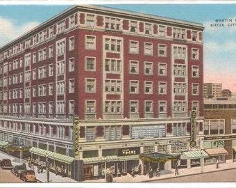 "Iowa, Vintage Postcard, ""Martin Hotel, Sioux City, Iowa,""  1940s, #713"