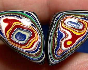 Solid Detroit Agate / Fordite Cabochon MATCHED PAIR  (suzybones)