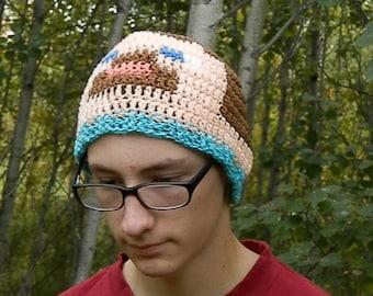 Steve or Herobrine Beanie, crochet minecraft toque Made To Order