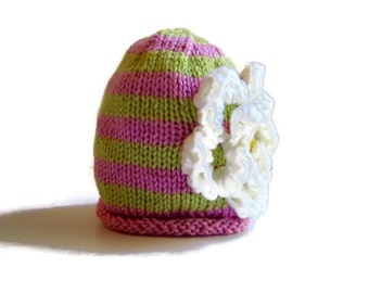 Newborn Girl's Hat - hand knit girl's hat - child's winter hat - knitted girl's hat - girl's beanie hat - girls accessories