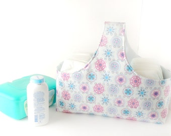Fabric Storage Basket - Diaper Caddy -  Spiral Diaper Storage - Nursery Decor - Pink Fabric Basket - Fabric Easter Basket