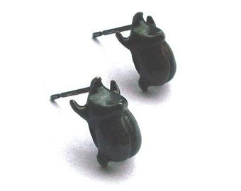 Sterling Silver Rhinoceros Beetle Stud Earrings