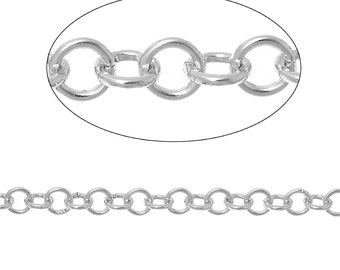 2 meters (about 6 feet) Silver ALUMINUM Round Cable Link Chain, Rolo Chain, 5mm links  fch0305