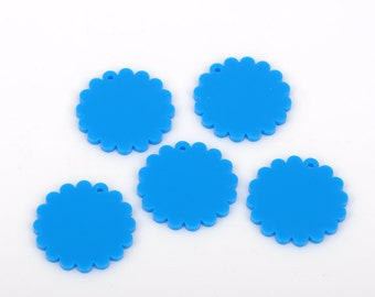10 Bright Blue CIRCLE Disc FLOWER Laser Cut Acrylic shapes, for key chains, pendants, customize your size, Lca0181