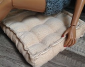 Retro Style Corduroy Floor Cushion for sixth scale or playscale diorama or dollhouse