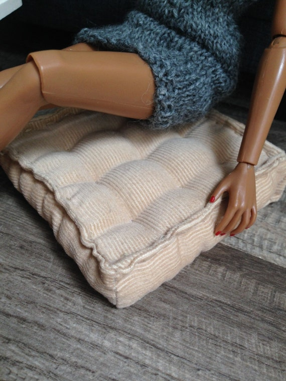 Retro Style Corduroy Floor Cushion for sixth scale or