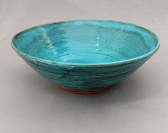 Serving Bowl - Handmade Turquoise and Terracotta